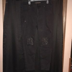 Melissa McCarthy Black Jeans SZ 18 knee details